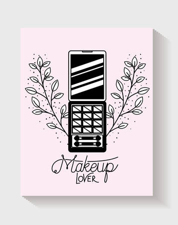 eye shadows make up in floral frame vector illustration design Çizim