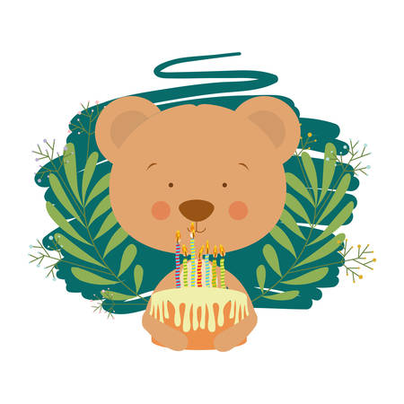 cute bear with cake in hand vector illustration design Çizim