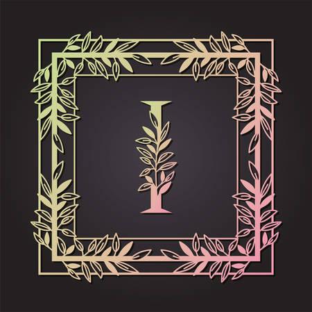 letter I in square frame with leafs vector illustration design Illusztráció