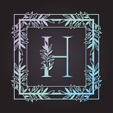 letter H in square frame with leafs vector illustration design