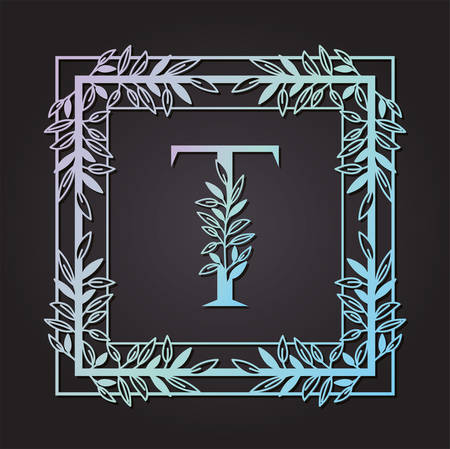 letter T in square frame with leafs vector illustration design