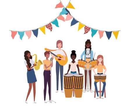 women with musicals instruments on white background vector illustration design Çizim