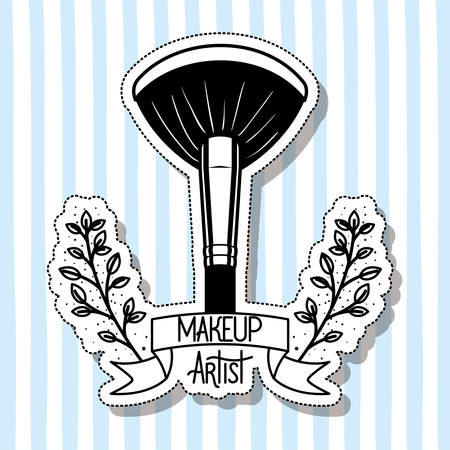 make up brush accessory in floral frame vector illustration design Çizim