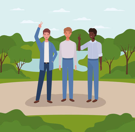 interracial group of men on the park vector illustration design