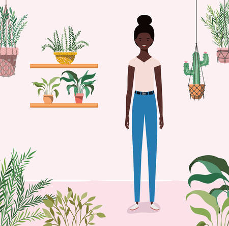 young afro girl in the garden character vector illustration design