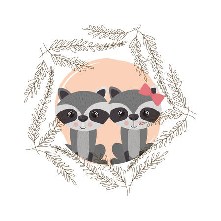 cute couple of raccoons with wreath vector illustration design Çizim