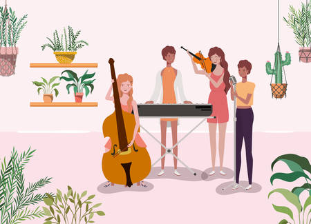 group of women playing instruments characters vector illustration design