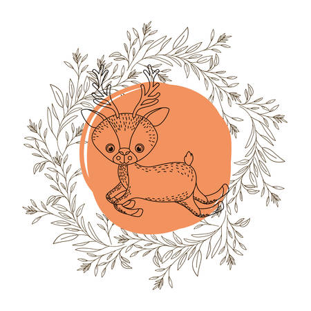 cute and adorable bunny with circular frame vector illustration design Vector Illustration