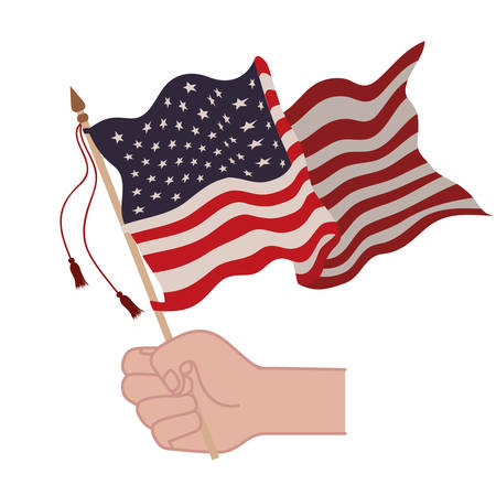 hand with united states flag isolated icon vector illustration design