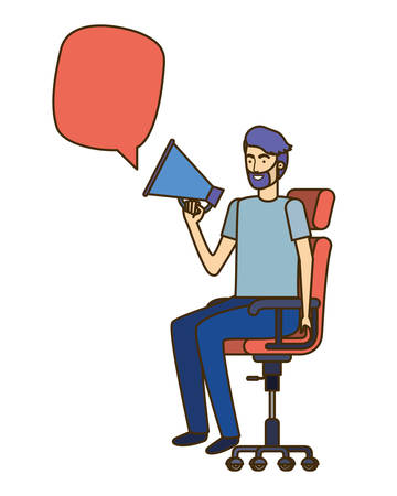 man with sitting in office chair and megaphone vector illustration design Stockfoto - 129931150