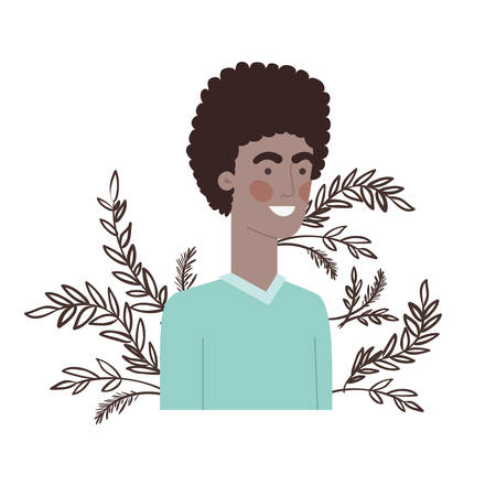 young man with branch and leaf character vector illustration design