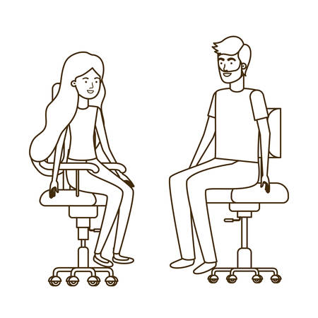 couple with sitting in office chair avatar character vector illustration design 写真素材 - 129849527