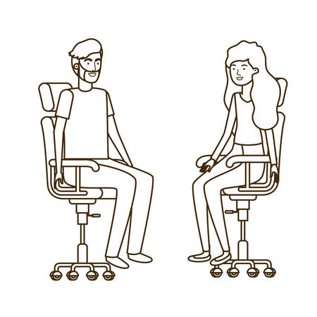 couple with sitting in office chair avatar character vector illustration design 写真素材 - 129852316