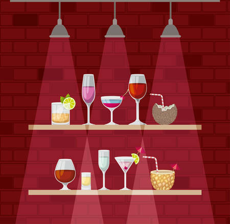 chelf bar with cocktails cups vector illustration design