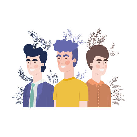 young men with branch with leaf character vector illustration design Illusztráció