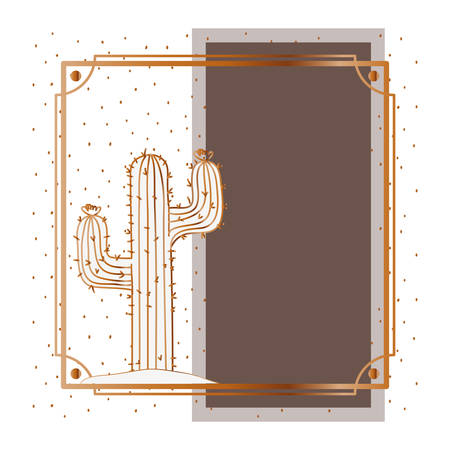 pattern cactus with frame golden isolated icon vector illustration design 向量圖像