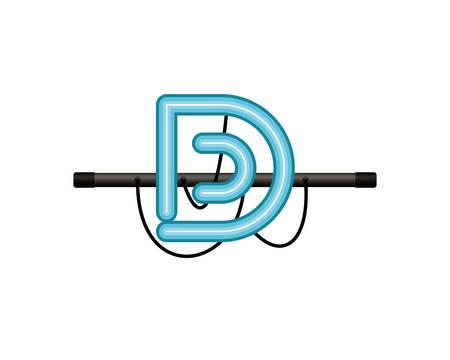 neon light letter isolated icon vector illustration design