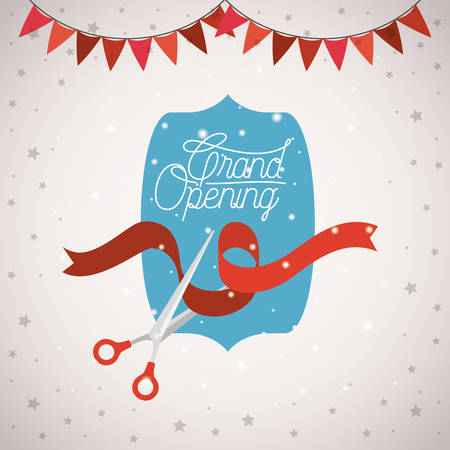 grand opening frame with scissorscuting ribbon and garlands vector illustration