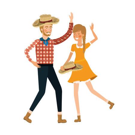 farmers couple dancing with straw hat vector illustration design Иллюстрация