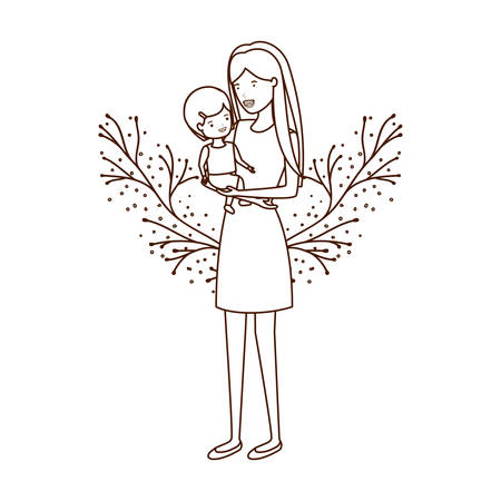 woman with baby avatar character vector illustration design  イラスト・ベクター素材