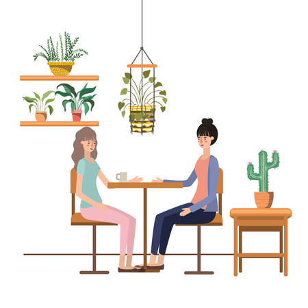 women drinking coffee in the living room vector illustration design Çizim