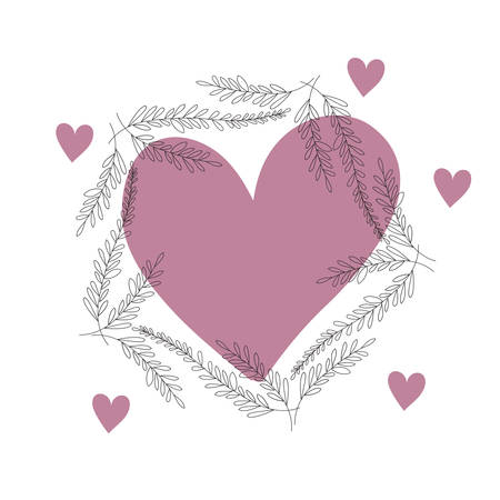 garland flowers and leafs with heart isolated icon