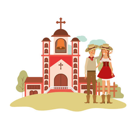 farmers couple talking with background church vector illustration design  イラスト・ベクター素材
