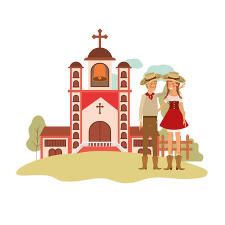 farmers couple talking with background church vector illustration design Иллюстрация