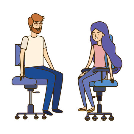 couple with sitting in office chair avatar character vector illustration design Çizim