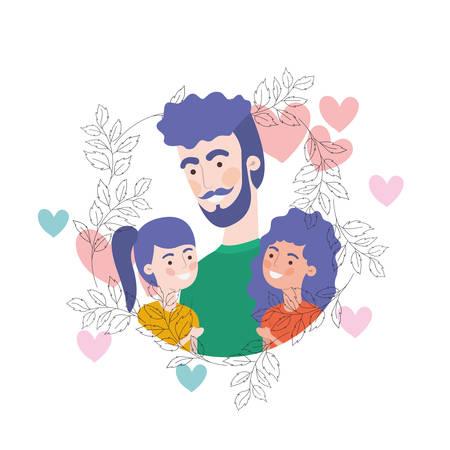 father with children avatar character vector illustration design Standard-Bild - 129931558