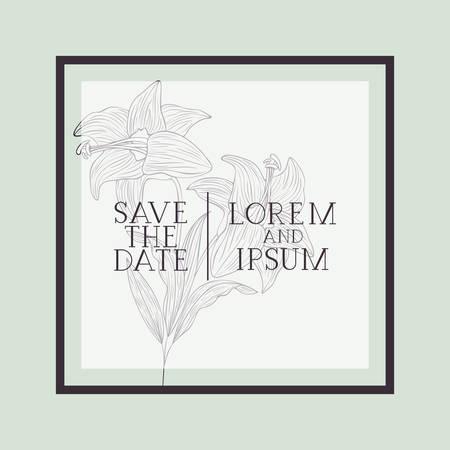 flower decorative square frame vector illustration design