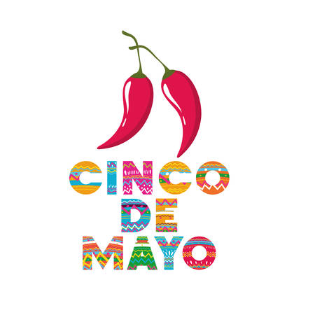 cinco de mayo label with peppers icon vector illustration design Stock Illustratie