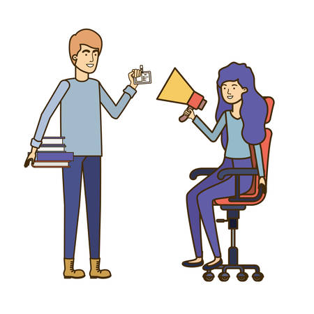 couple with sitting in office chair avatar character vector illustration design Stock Illustratie