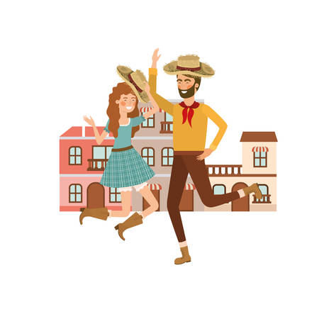couple farmers dancing with background houses vector illustration design