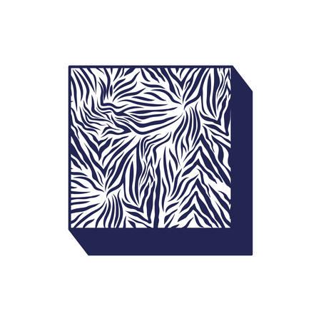 square with animal print pattern ninetys style vector illustration design Иллюстрация