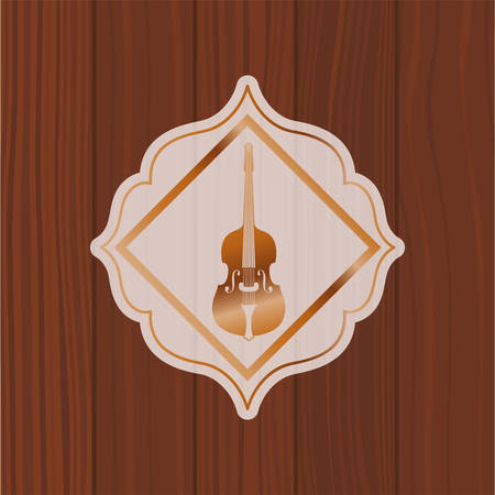 music fiddle instrument in frame with wooden background vector illustration design