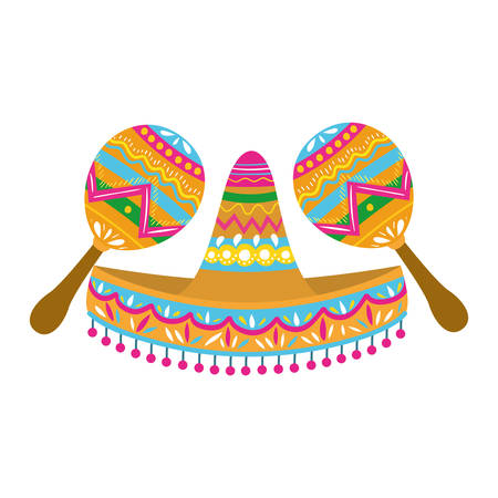 mexican hat with maracas isolated icon vector illustration design Ilustração