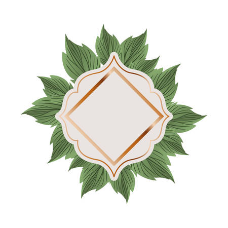 frame with branch and leaf isolated icon vector illustration design
