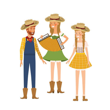 group of people farmers with musical instrument vector illustration design  イラスト・ベクター素材