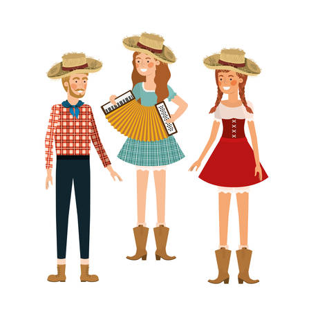 group of people farmers with musical instrument vector illustration design Иллюстрация