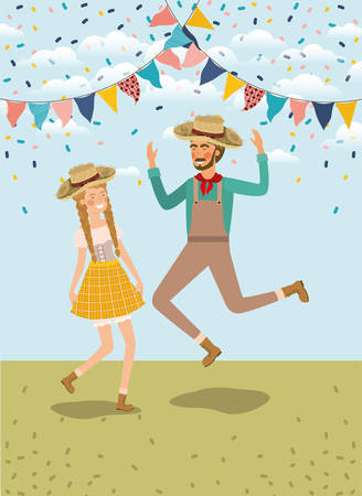 farmers couple celebrating with garlands vector illustration design