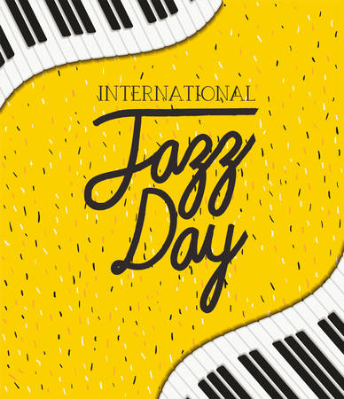 jazz day poster with piano keyboard vector illustration design
