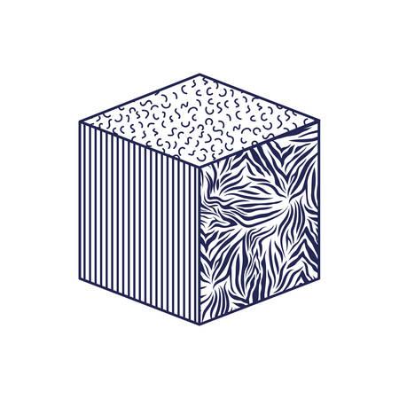cube with animal print pattern ninetys style vector illustration design Иллюстрация