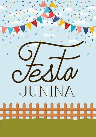 festa junina with fence and garlands vector illustration design Çizim