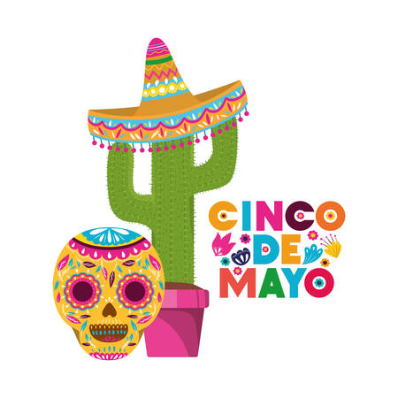 cinco de mayo label with cactus and skull vector illustration design