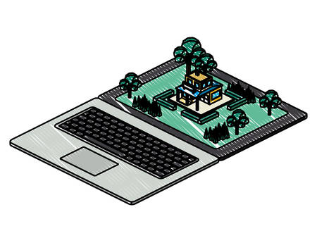 computer laptop and building scene isometric icon vector illustration design