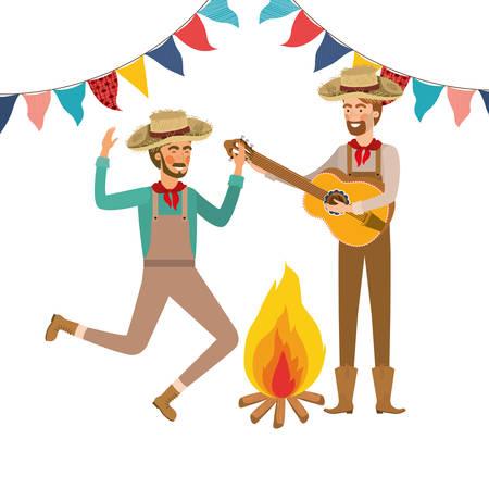 farmers men with musical instrument vector illustration design