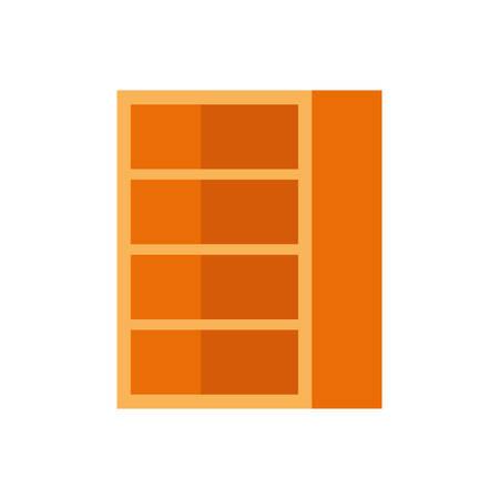 wooden bookshelf on white background vector illustration design Çizim