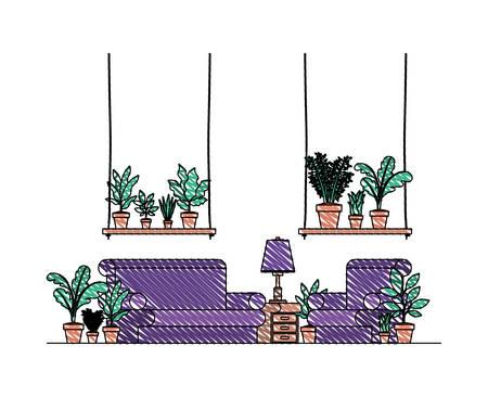 living room with houseplants scene vector illustration design Stock Illustratie