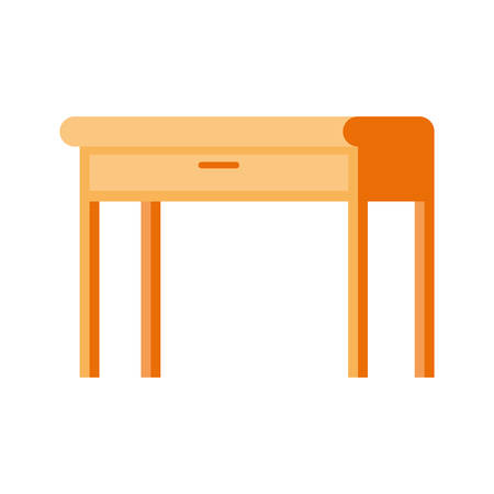 office desk in wooden with white background vector illustration design Çizim